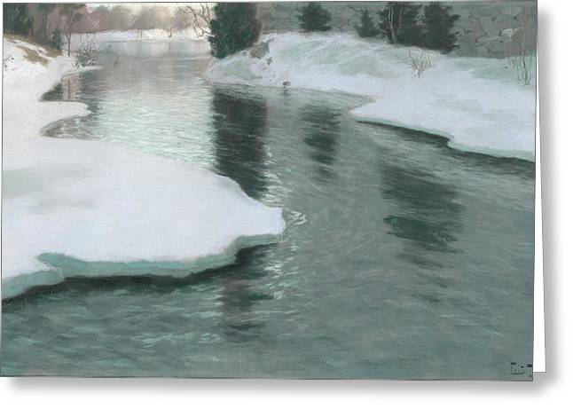 Melting Snow Greeting Card by Fritz Thaulow