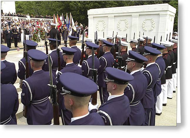 Recently Sold -  - Bayonet Greeting Cards - Members Of The Armed Forces Honor Guard Greeting Card by Stocktrek Images