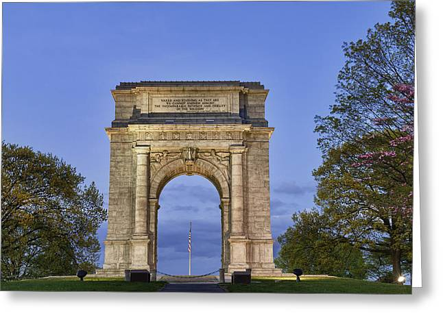 National Memorial Greeting Cards - Memorial Arch Valley Forge Greeting Card by John Greim