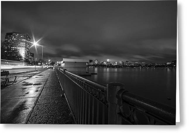Memorial Drive Charles River Boston Ma Massachusetts Black And White Greeting Card by Toby McGuire