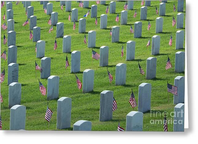 Memorial Flags Greeting Card by Marta Robin Gaughen