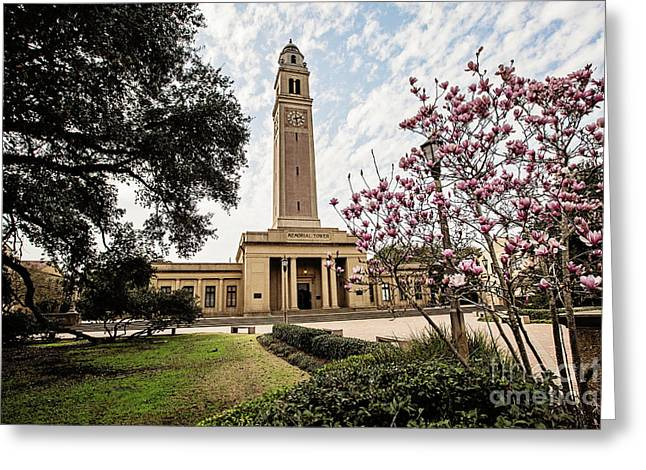 Lsu Greeting Cards - Memorial Tower Greeting Card by Scott Pellegrin