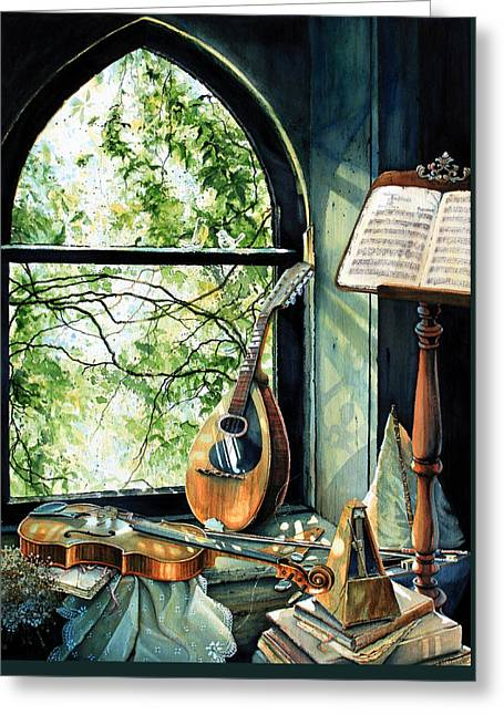 Memories And Music Greeting Card by Hanne Lore Koehler