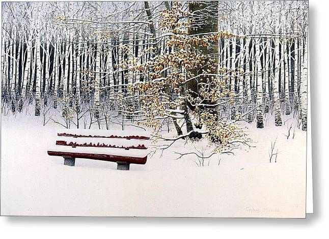 Memories Of Birchtrees Greeting Card by Conrad Mieschke