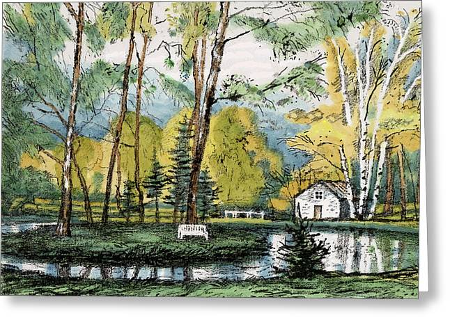 Old Europe In Stone Lithography. Golden Autumn Birch Foliage And Trees On Little Pond Island In Park Greeting Card