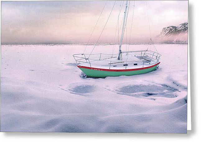 Greeting Card featuring the photograph Memories Of Seasons Past - Prisoner Of Ice by John Poon