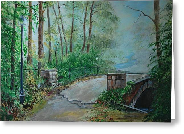 Greeting Card featuring the painting Memory Bridge by Leslie Allen