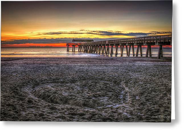 Memory In The Sand Tybee Island Pier Sunrise Art Greeting Card by Reid Callaway