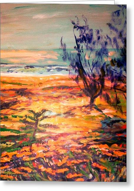 Greeting Card featuring the painting Memory Pandanus by Winsome Gunning