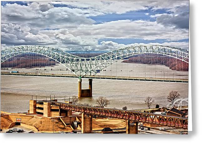 Memphis Bridge Hdr Greeting Card by Suzanne Barber