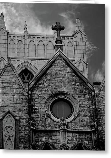 Memphis Cross In The Clouds Bw Greeting Card