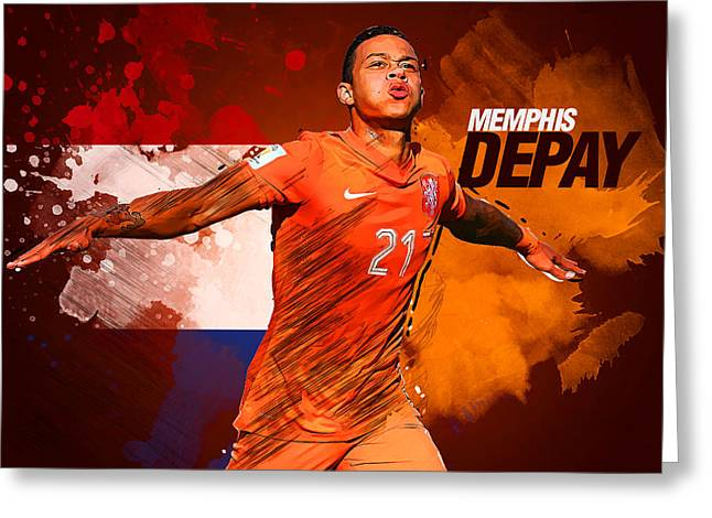 Memphis Depay Greeting Card by Semih Yurdabak