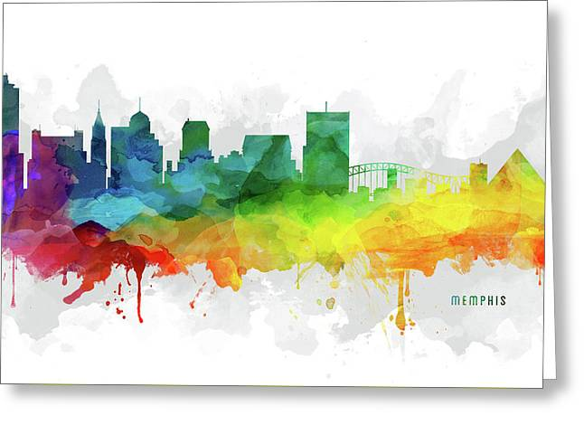 Memphis Skyline Mmr-ustnme05 Greeting Card by Aged Pixel