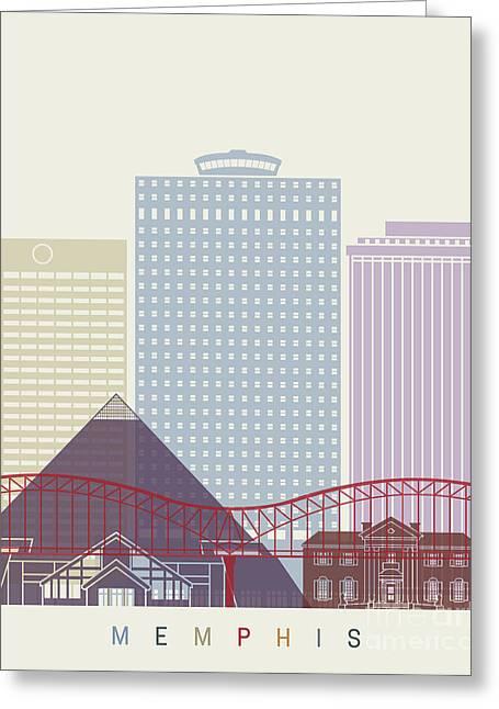 Memphis Skyline Poster Greeting Card by Pablo Romero