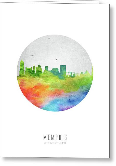 Memphis Skyline Ustnme20 Greeting Card by Aged Pixel