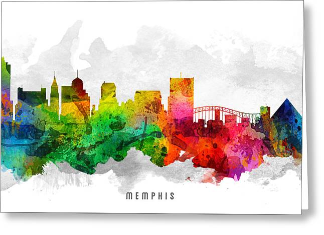 Memphis Tennessee Cityscape 12 Greeting Card by Aged Pixel