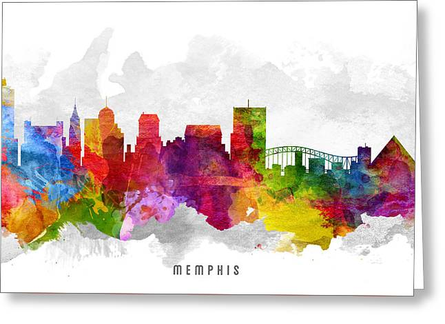 Memphis Tennessee Cityscape 13 Greeting Card by Aged Pixel