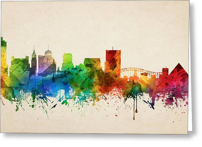 Memphis Tennessee Skyline 05 Greeting Card by Aged Pixel