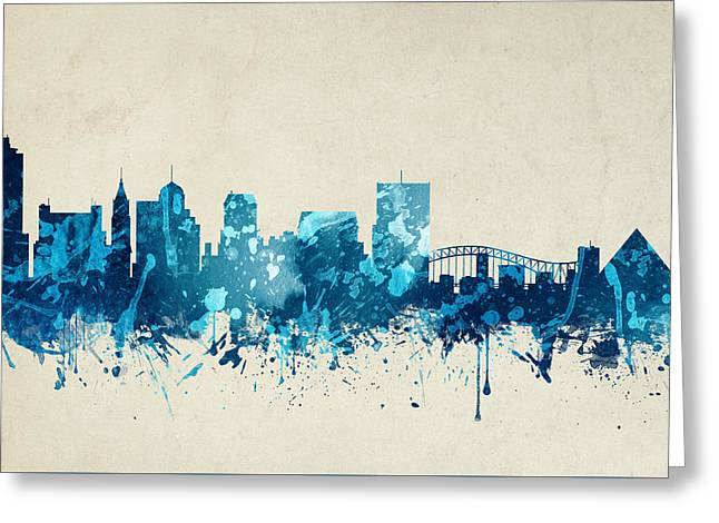Memphis Tennessee Skyline 20 Greeting Card by Aged Pixel