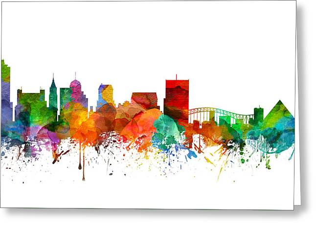 Memphis Tennessee Skyline 21 Greeting Card by Aged Pixel