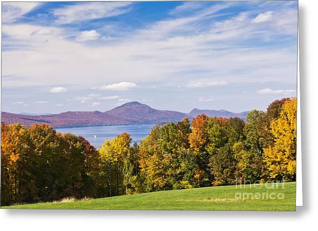 Memphremagog Autumn Greeting Card by Alan L Graham