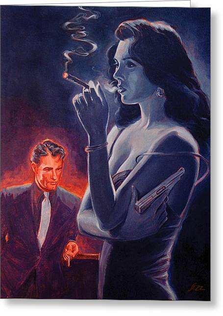 Tough Guy Greeting Cards - Men and Cigars were the same to Zelda- If you got em - SMOKE em Greeting Card by Shawn Shea
