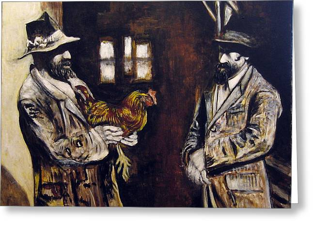 Men And Hen After A Photograph Shown On Pbs  Greeting Card by Vladimir Kezerashvili