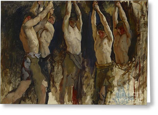 Men At An Anvil, Study For The Spirit Of Vulcan Greeting Card by Edwin Austin Abbey