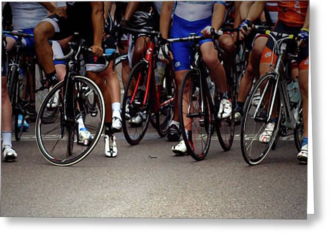 Bike Race Greeting Cards - Men in Waiting Greeting Card by Steven  Digman