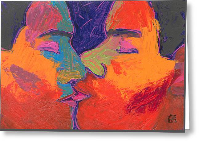 Men Kissing Colorful 2 Greeting Card