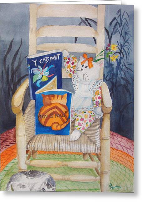 Greeting Card featuring the painting Men-o-paws by Anne Dentler