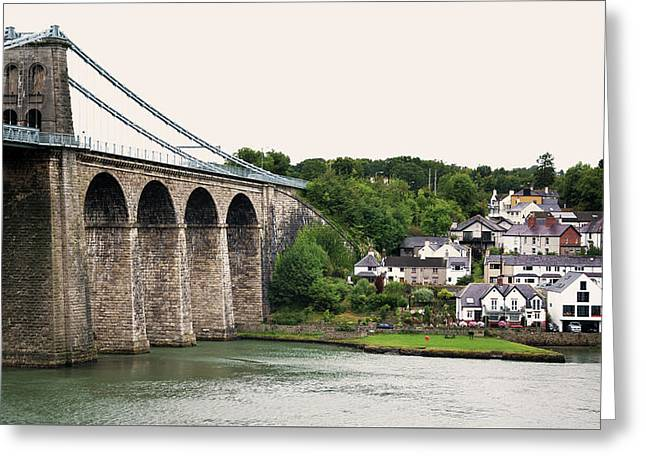 Menai Bridge Over River Greeting Card