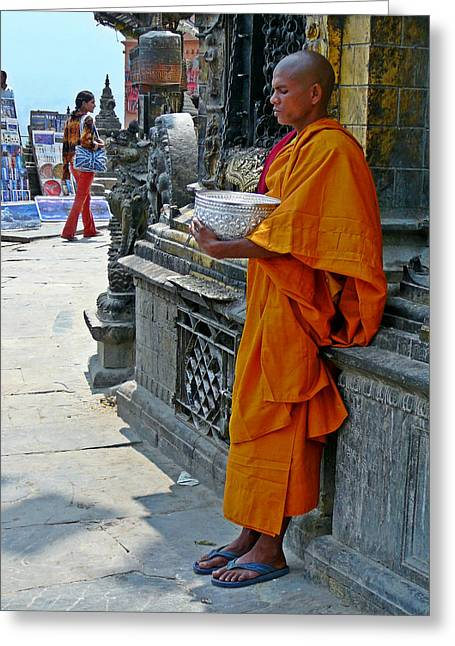Mendicant Monk Nepal Greeting Card