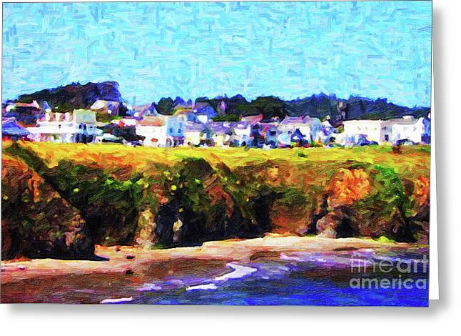 Mendocino Bluffs Greeting Card by Wingsdomain Art and Photography