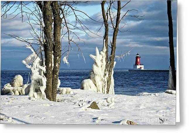Menominee Lighthouse Ice Sculptures Greeting Card