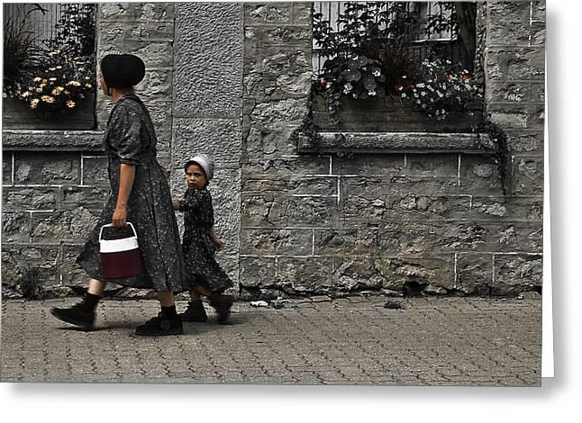 Menonite Woman And Child Greeting Card