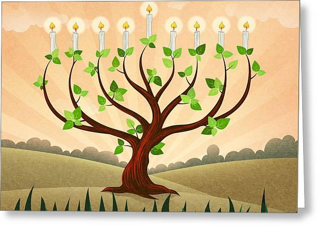 Menorah Tree Greeting Card