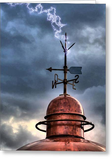 Menorca Copper Lighthouse Dome With Lightning Rod Under A Bluish And Stormy Sky And Lightning Effect Greeting Card by Pedro Cardona