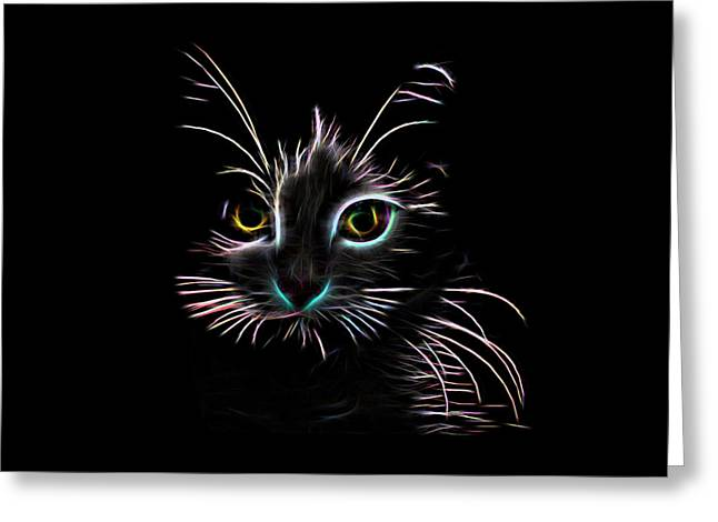 Greeting Card featuring the digital art Meow  by Aaron Berg