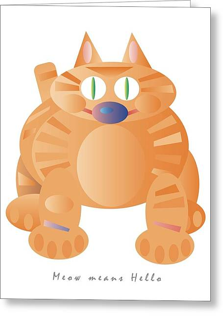 Meow  Hello Note Card Greeting Card by James Maltese