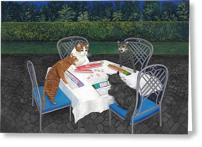 Meowjongg - Cats Playing Mahjongg Greeting Card