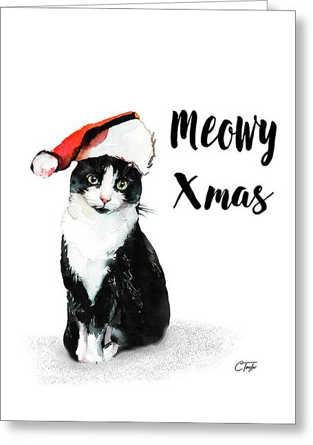 Greeting Card featuring the painting Meowy Xmas by Colleen Taylor
