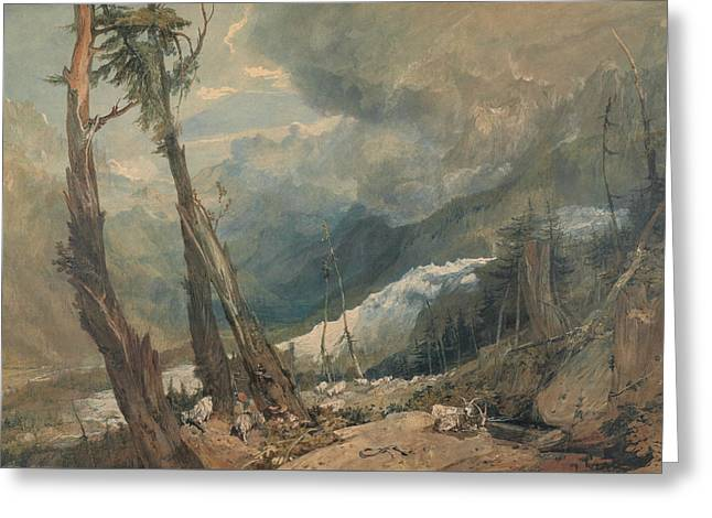 Mer De Glace In The Valley Of Chamouni Switzerland Greeting Card by Joseph Mallord William Turner