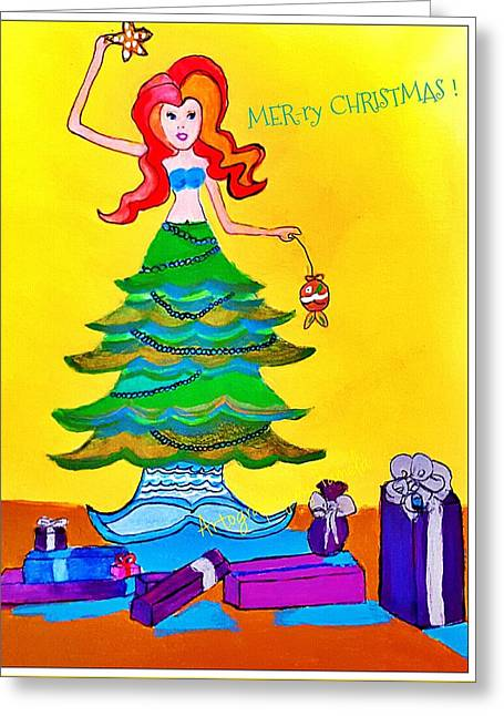 Mer-ry Christmas Mermaid   Greeting Card by ARTography by Pamela Smale Williams
