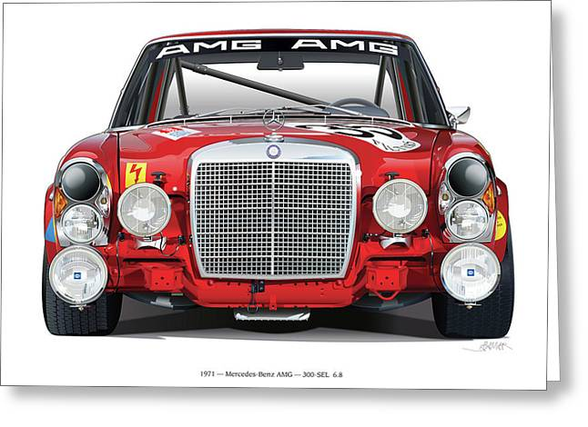 Mercedes-benz 300sel 6.3 On White Greeting Card