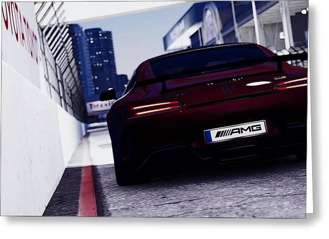 Mercedes-benz Amg Gtr - Long Beach At Night 2 Greeting Card