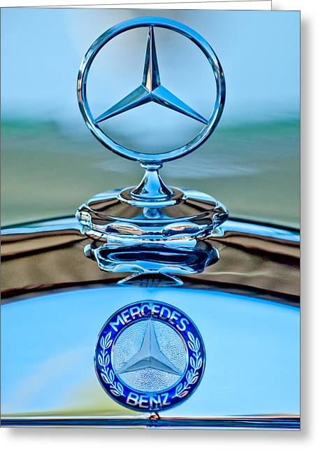 Mercedes Benz Hood Ornament Greeting Card by Jill Reger
