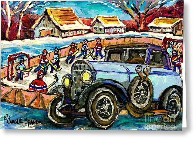 Mercedes Benz Model K Canadian Winter Country Scene Art Outdoor Hockey Rink Painting Carole Spandau  Greeting Card by Carole Spandau