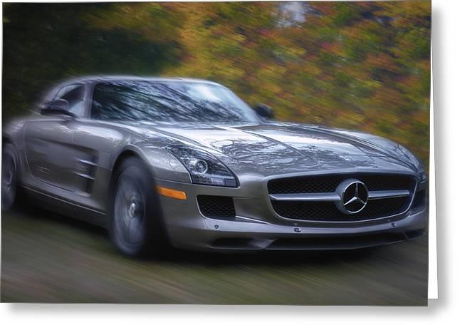 Mercedes-benz Sls Amg Autumn Drive Greeting Card
