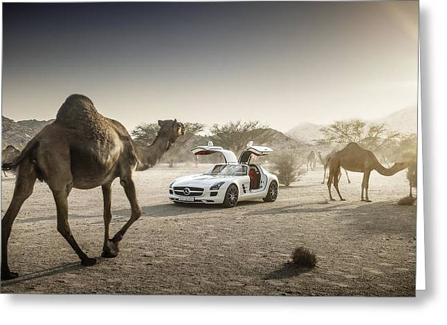 Mercedes Benz Sls With Camels In Saudi Greeting Card